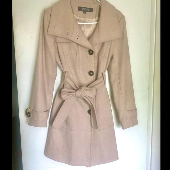 Kenneth Cole Beige-Light Tan Wool Trench Coat